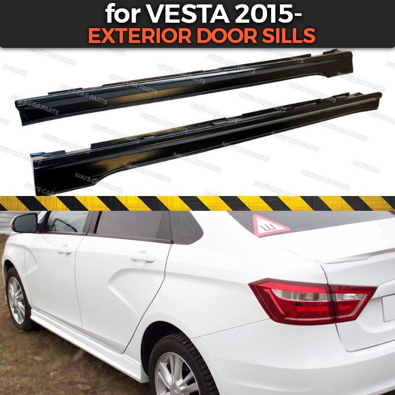 Exterior door sills for Lada Vesta 2015 side skirts ABS plastic body kit aerodynamic pads under