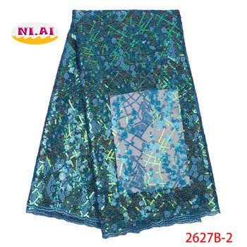 Dress Fabric Evening, Latest African Tull Lace Fabrics, turquois Blue Organza Lace Dress With Sequin MR2627B