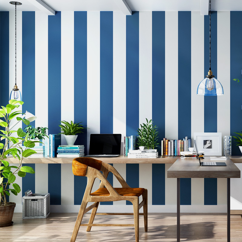 Modern Pink Blue White Stripe Wallpaper for Kids Room Baby Boy Girl Bedroom Wall Paper Self