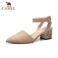 CAMEL Woman New Spring Shoes Women Fashion Pointed Toe Med Heel Dress Shoes For Ladies Casual Buckle Leather Pumps Elegant S