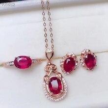 KJJEAXCMY бутик ювелирных изделий 925 чистого серебра инкрустированные натуральный рубин кулон ожерелье кольцо уха ногтей набор поддержка обнаружения