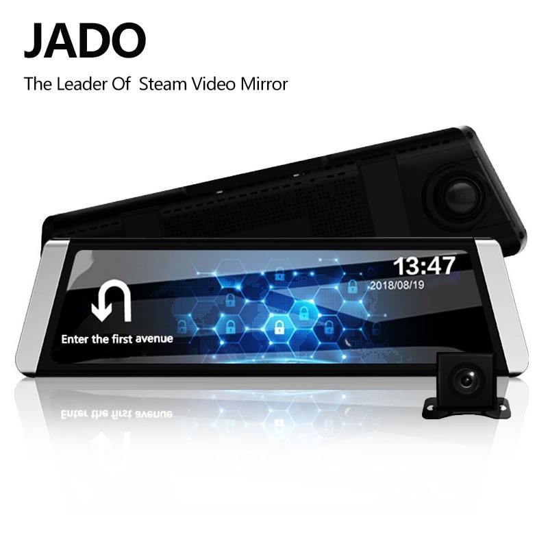 JADO D800 Car Dvr Stream Rearview Mirror Camera LDWS GPS Track 10 IPS Touch  Screen Full HD 1080P Car