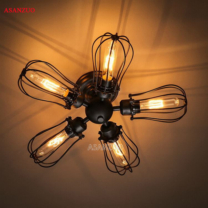 American country Vintage industrial creative restaurant bar Ceiling Light Iron flute 5 heads Home decoration lamp E27American country Vintage industrial creative restaurant bar Ceiling Light Iron flute 5 heads Home decoration lamp E27