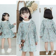 Girl Baby Dress Girls Autumn And Winter 2019 Long-sleeved Broken Corduroy Cartoon Bird Loin Lace Dress(China)