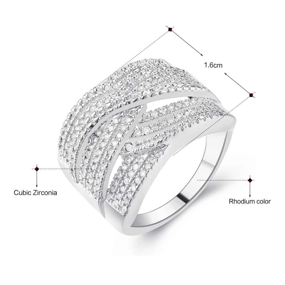 DreamCarnival 1989 Paves Zircon Setting Stones Cross Shape Trendy Design White Crystal Ladies Wedding Gold color Rings YR6602