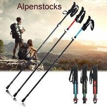 5-Section Outdoor Cane Folding Adjustable Camping Hiking Walking Trekking Stick Alpenstock Carbon Fiber Climbing Skiing Trekking