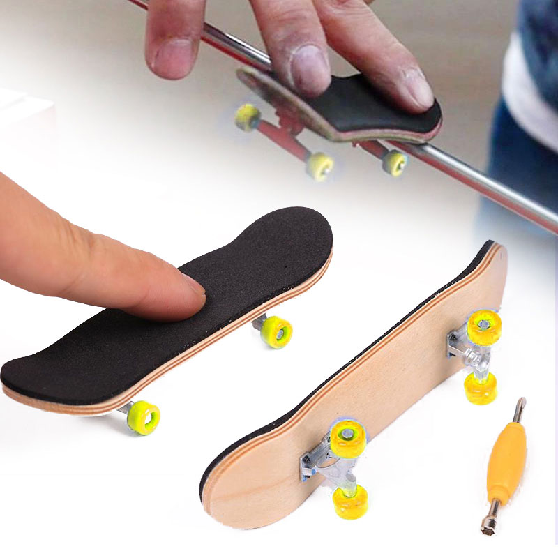 Creative Complete Wooden Fingerboard Finger Skate Board  Mini Finger Skateboarding Grit Box Mini Skateboards Finger Scooter Toys