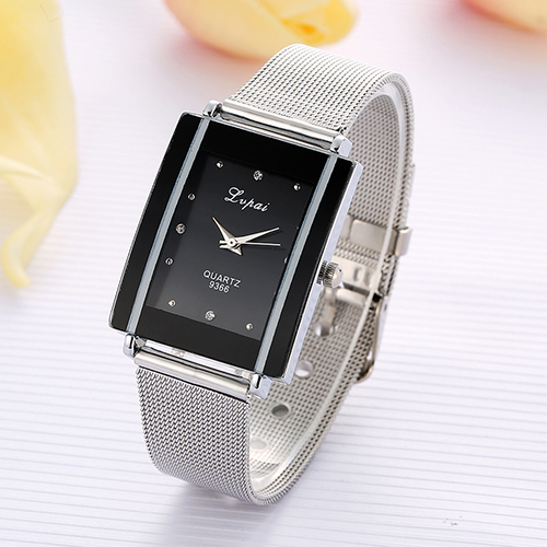 Men Women Fashion Rectangle Dial Stainless Steel Net Strap Quartz Wrist Watch