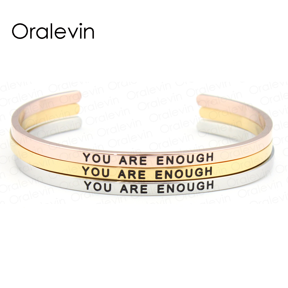 Stainless Steel Engraved Positive Inspirational WARRIOR Bangle Bracelet Gold for women (3 Colors available) #LB864