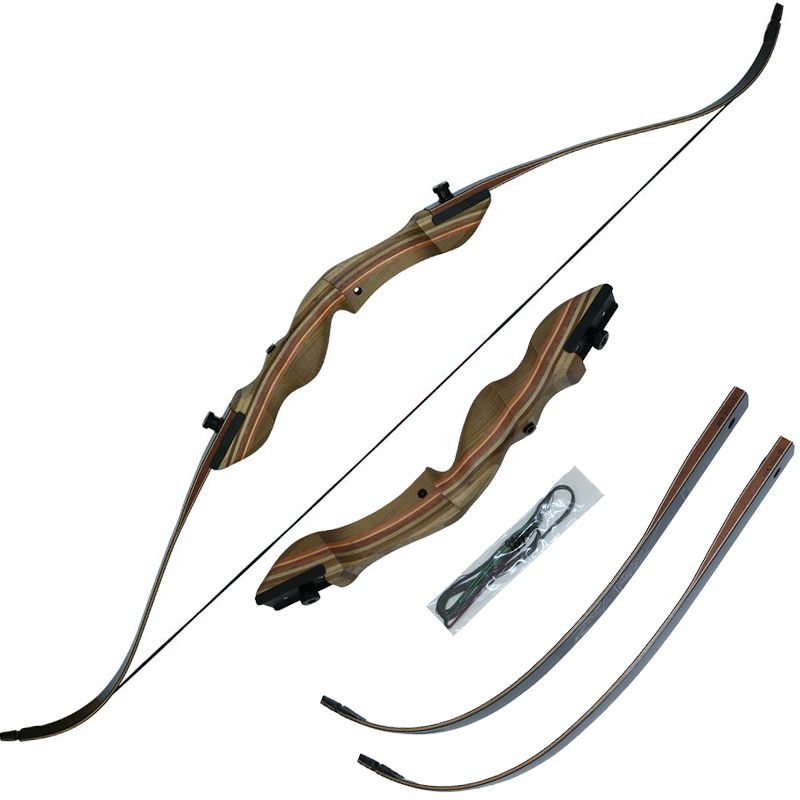 Hot sale!55lbs hunting recurve bow archery bow and arrow wooden laminated take-down bow hunter hunting and shooting 1 piece hotsale black snakeskin wooden recurve bow 45lbs archery hunting bow