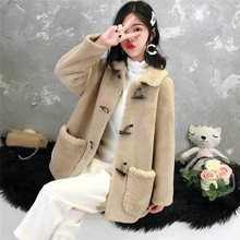 Woman Fashion Lapel Collar Imitation Leather Coat Fur Granular Horn Button Wool College Wind Pocket Brushed Jacket Winter New free shipping winter girl fashion coat imitation fur leather jacket to collect waist round collar