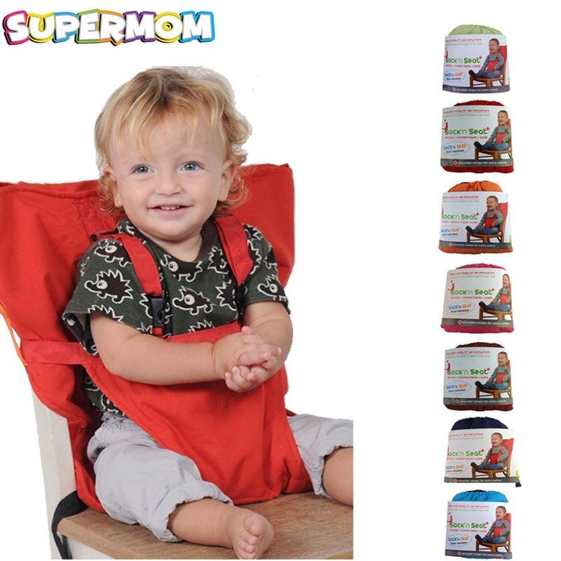 Asiento portátil de bebé para niños Silla de viaje plegable lavable infantil comedor alta funda de asiento cinturón de seguridad de alimentación silla alta