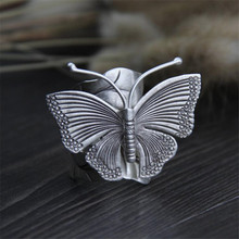 Handmade Real Solid 999 Sterling Silver Large Butterfly Rings For Women Animal Elegant Leaf Shape Fine Jewelry Adjustable