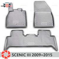 Boden matten für Renault Scenic 3 2009 ~ 2015 teppiche non slip polyurethan schmutz schutz innen auto styling zubehör
