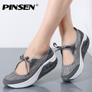 c9536f7f2218 PINSEN 2019 verano planos de las mujeres sandalias de plataforma zapatos de  mujer zapatos casuales de malla de aire cómodo transpirable zapatos de ...