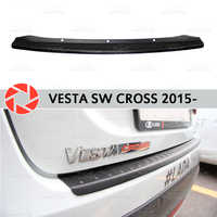 Para Lada SW Cruz de Vesta 2015-guarda bumper sill placa de proteção na parte traseira do carro styling acessórios de decoração painel de chinelo