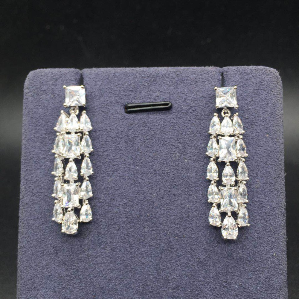 2018 Autumn Collection Elegant Trendy AAA Cubic Zirconia Stone Drop Earrings For Girl Women Party Holiday Accessories Gift