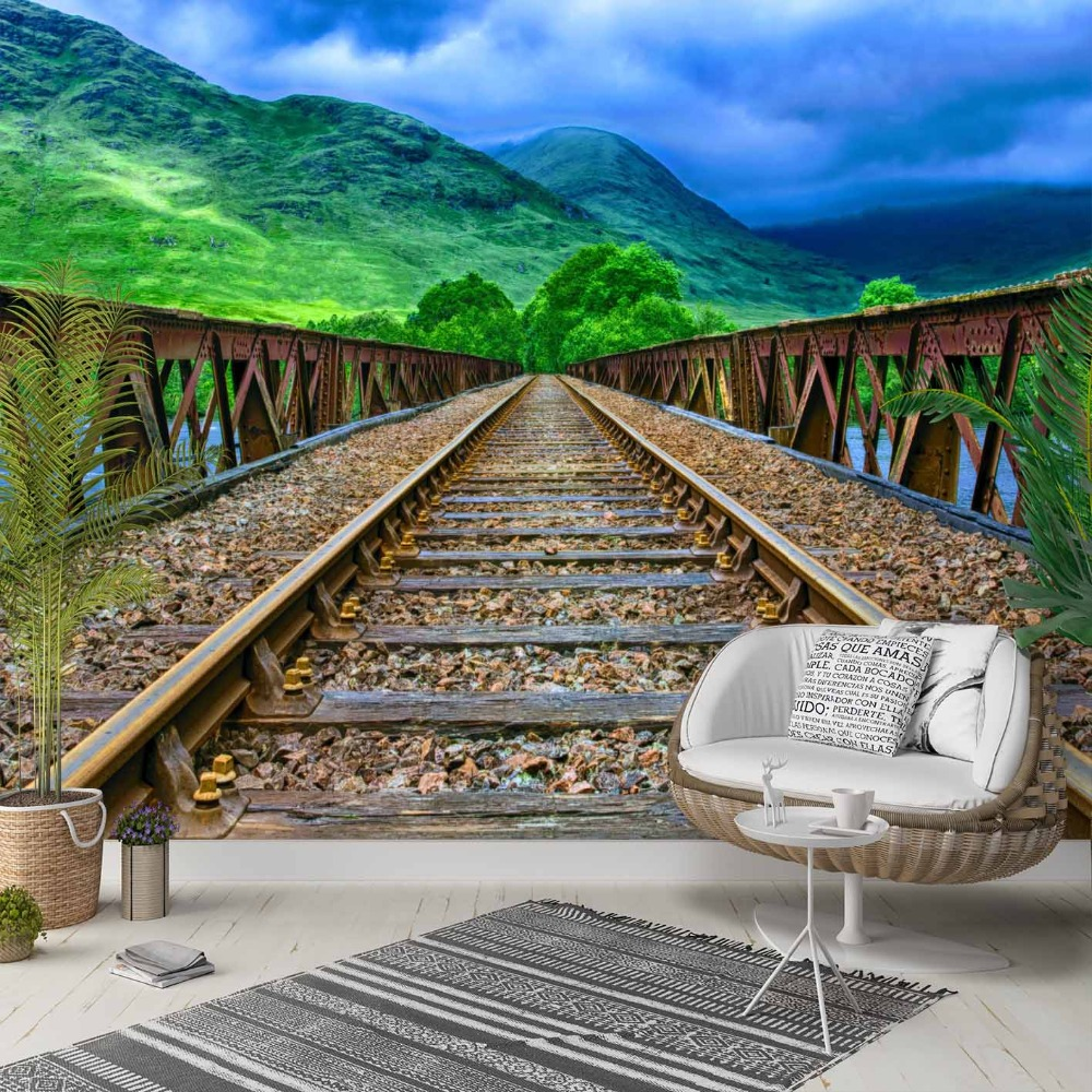 Else Green Floral In Wood Train Road Way 3d Photo Cleanable Fabric Mural Home Decor Living Room Bedroom Background Wallpaper