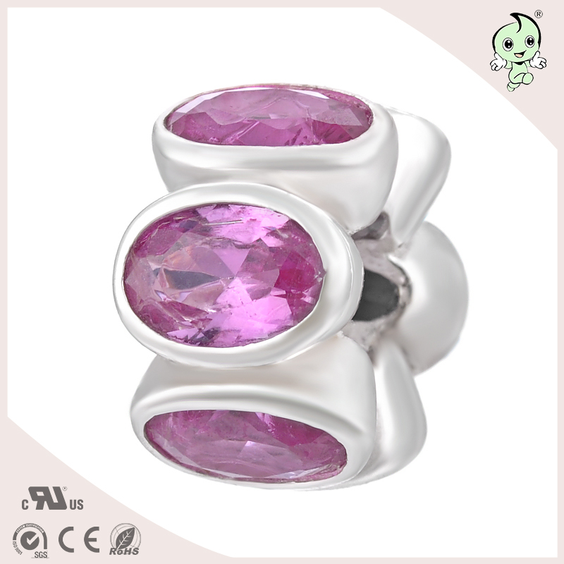 P&R Delicate With Big Pink Zircon Stone 925 Sterling Silver Spacer Charm Fitting for Famous Silver Bracelet