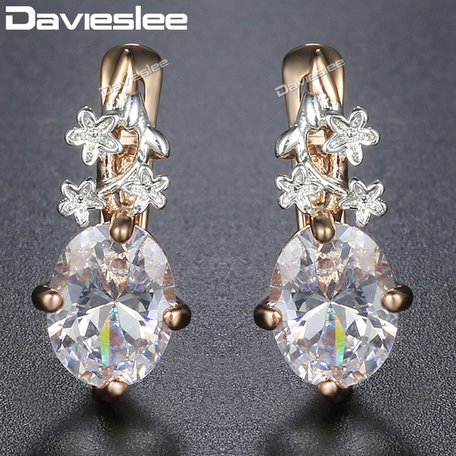Davieslee Flowers Oval Clear CZ Womens Lady Stud Earrings Snap Closure White Rose Gold Filled 585 DGE77