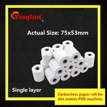 1 рулон/лот 75x60 мм Однослойная POS кассовая бумага 1 слой безуглеродистой бумаги рулон для 70*60 игл кассовая бумага