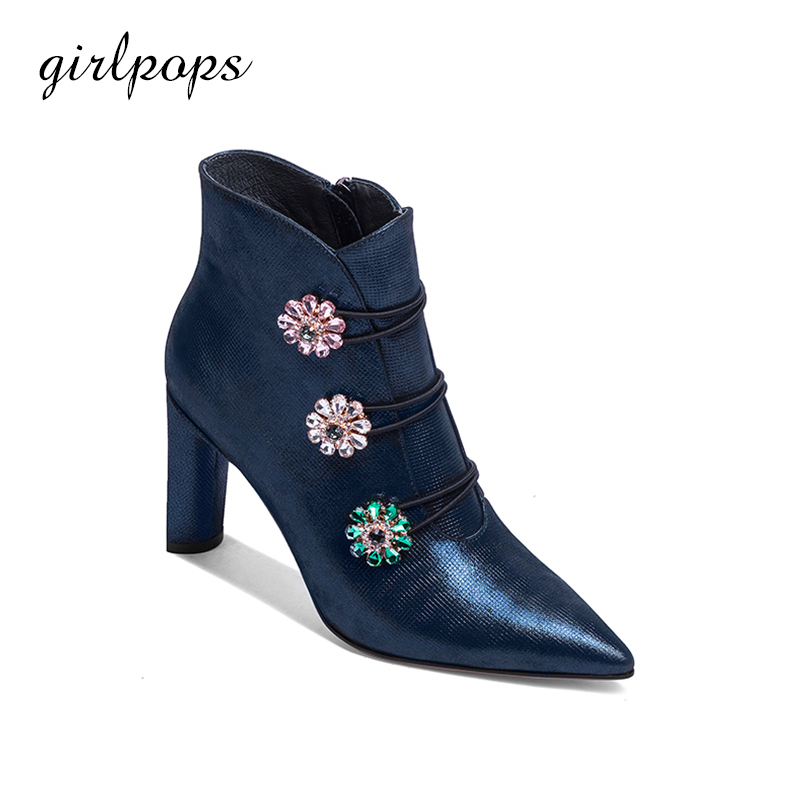 Elegance Women Shoes Spring Ankle Boots Supper Chunky High Heels With Zip blue Pointed Toe Zapatos Mujer girlpops 2018 New Style wholesale lttl new spring summer high heels shoes stiletto heel flock pointed toe sandals fashion ankle straps women party shoes