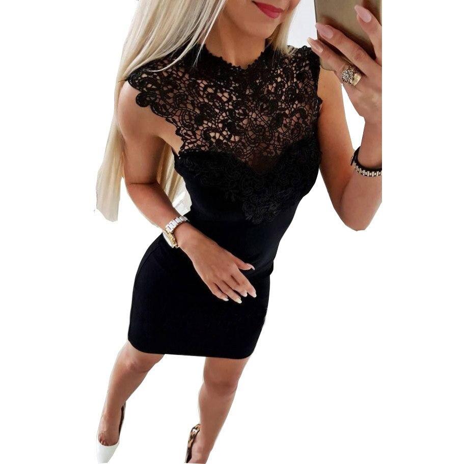 Vestidos de mujer 2018 verano Casual Bodycon vestidos de fiesta negro blanco Sexy Club ajustado encaje empalme Mini Vestido