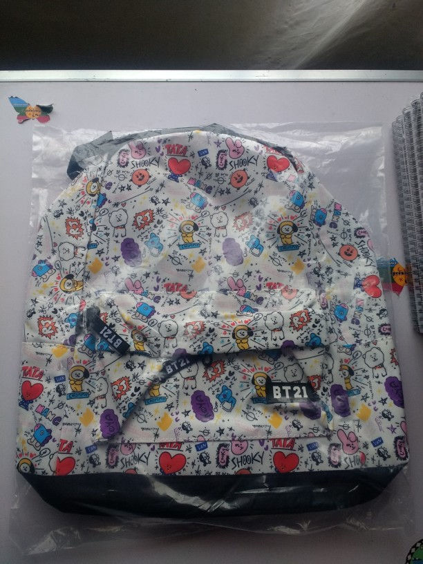 Bt21 Signature Backpack Bts Character Graphic Mesh Backpack School Book Travel Shoulder Bag  photo review
