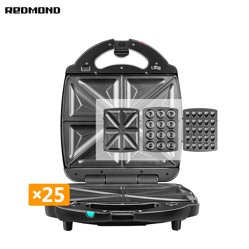 Multibaker Redmond RMB-M731/3 multi baker appliance waffle maker grill sandwich omletnitsa donut biscuit cake appliance electric square shape waffle maker commercial waffle baker plaid cake furnace machine heating machine fy 115