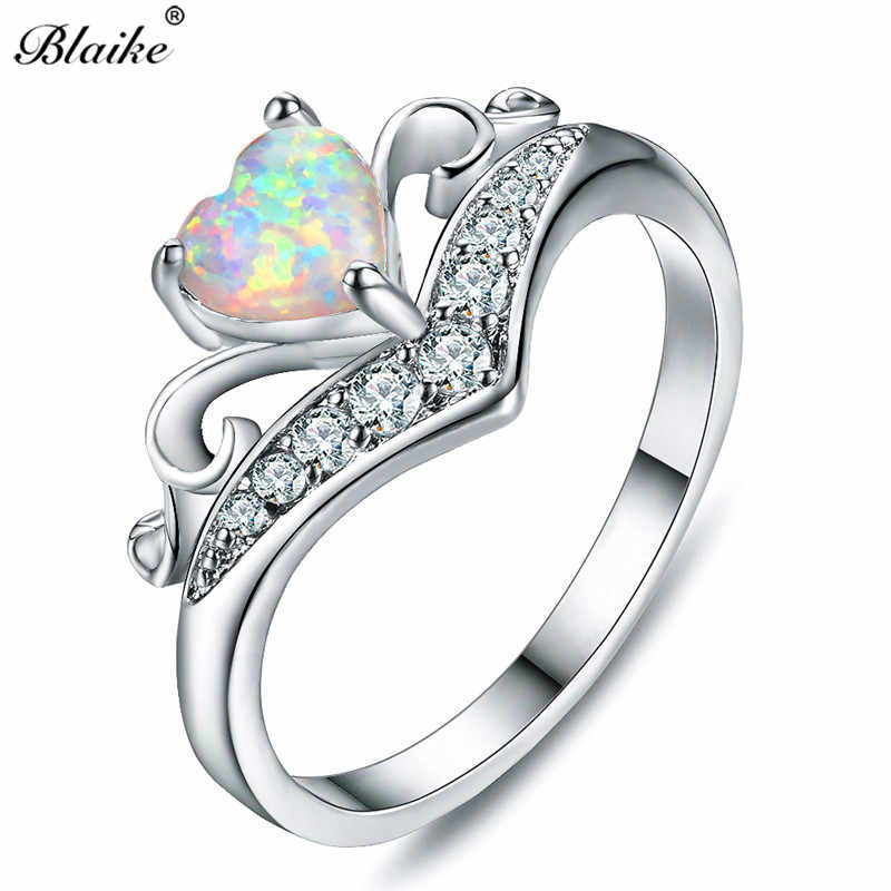 לב רומנטי נשי Blaike לבן טבעות אופל אש לנשים 925 כסף מלא תכשיטי אופנה טבעת נישואים אבן המזל
