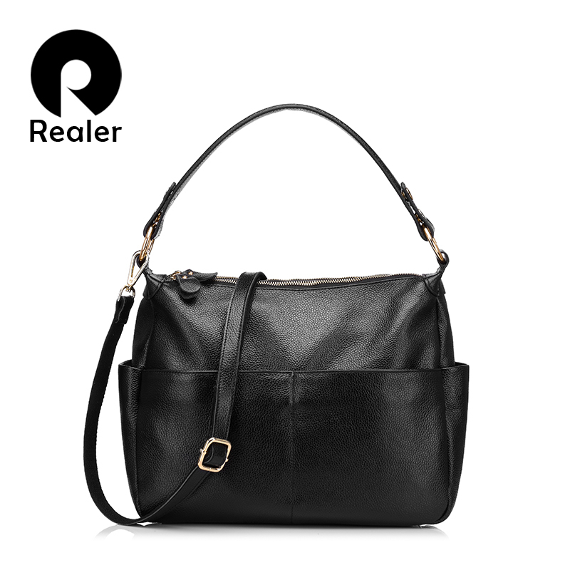 REALER brand women Handbag genuine leather bags female casual tote bag high quality cowhide leather shoulder messenger bags  kevti brand genuine leather women handbag high quality cowhide female shoulder bags casual crossybody bag european style hobos