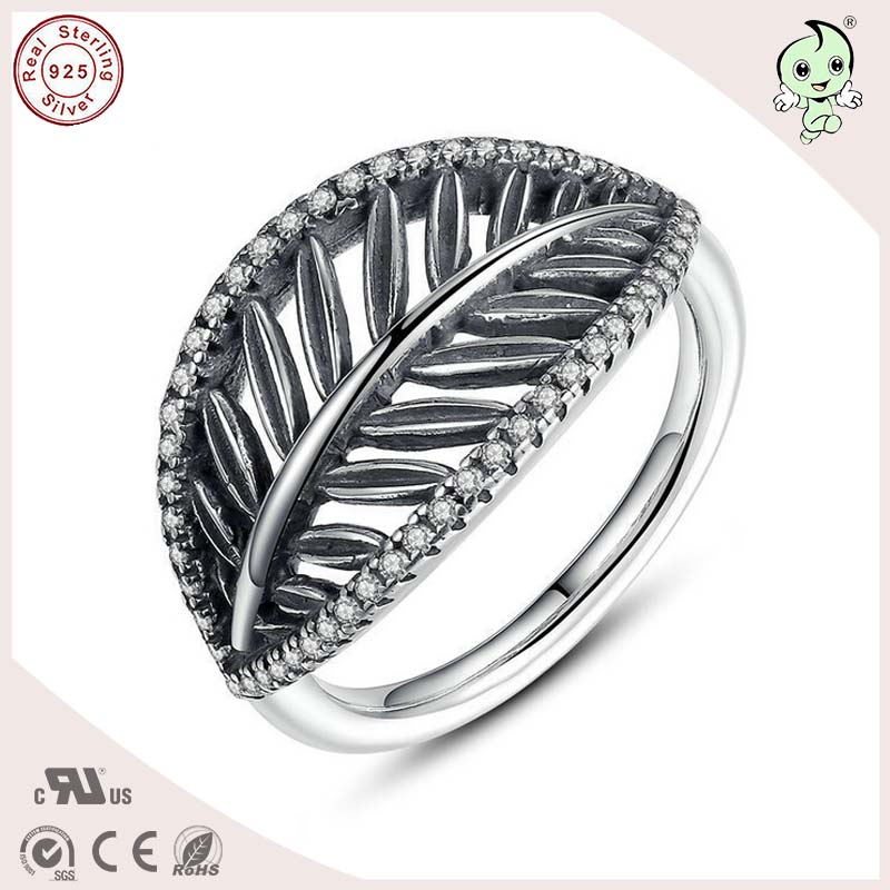 P&R products New Arrival Good Quality 925 Real Silver Zircon Stones Paving Hollow Leaf Ring for women