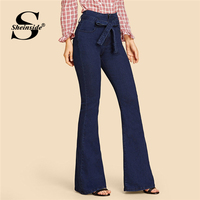 Sheinside Navy Tie Waist Flare Jeans Woman Denim Trousers Vintage Women Clothes 2018 Fall High Waist Pants Belted Stretchy Jeans