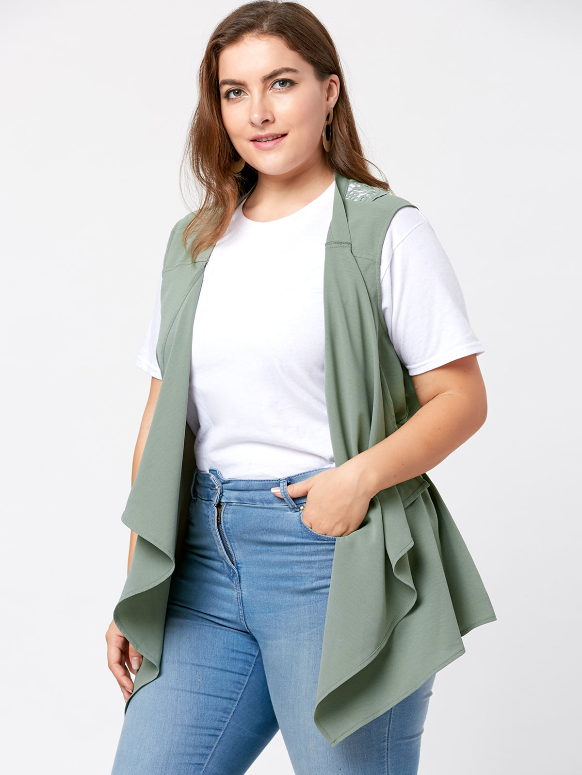 0befef4d2ae Gamiss Plus Size Women Autumn Spring Lace Insert Waterfall Wasitcoat Vest  Waistcoat Lady Office Wear Long Coat Casual Sleeveles