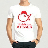 Chicken Attack Song T Shirt Summer Short Sleeve Teenages White Funny Chicken Attack Top Tees Shirt