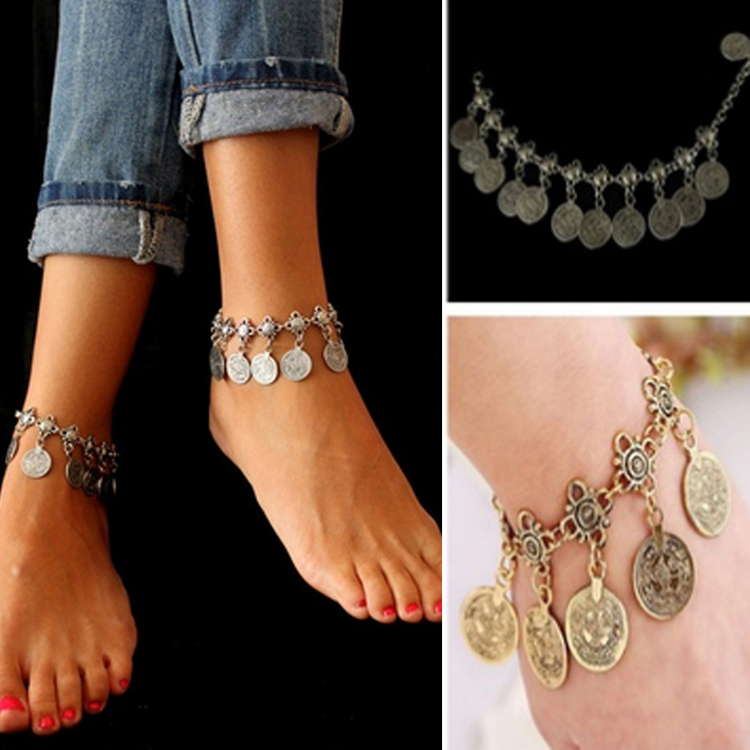 from jewelry silver metal style item women in coin and summer bohemian gold for luxury anklets on tassel anklet bracelet charm accessories color ankle