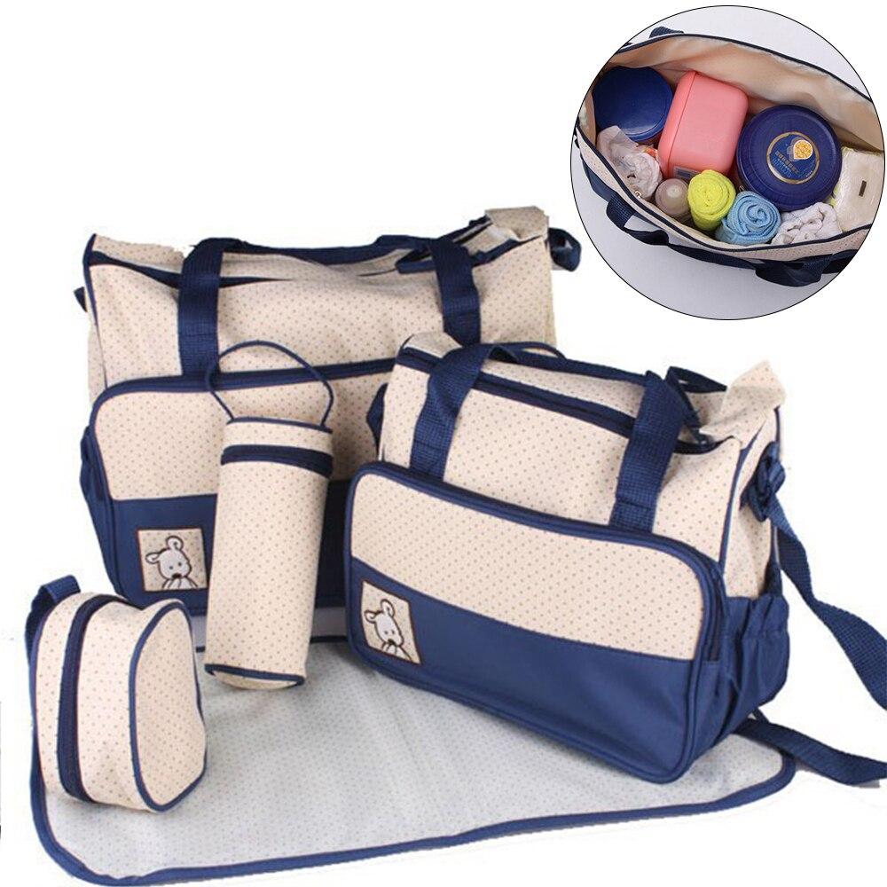 5 pcs set cuidados com o bebe sacos de fraldas saco de fraldas multifuncional mae grande