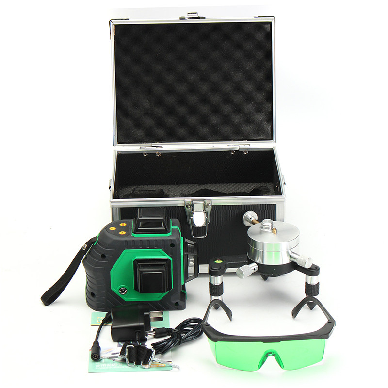 12 Line 3D Green Laser Level Self 360Rotaty Outdoor Receiver Leveling Vertical Horizontal Cross Level Multi Slash Function