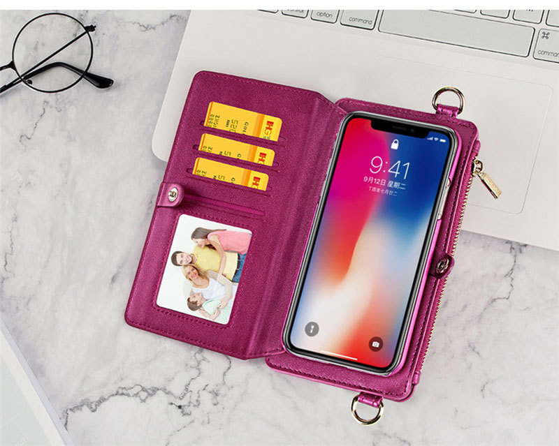 4 in 1 Leather Wallet Bag Case for iPhone X 6 6s 7 8 Plus Detachable Phone Cover Card Slot Girl Women Shoulder Bag Handbag Pouch (18)