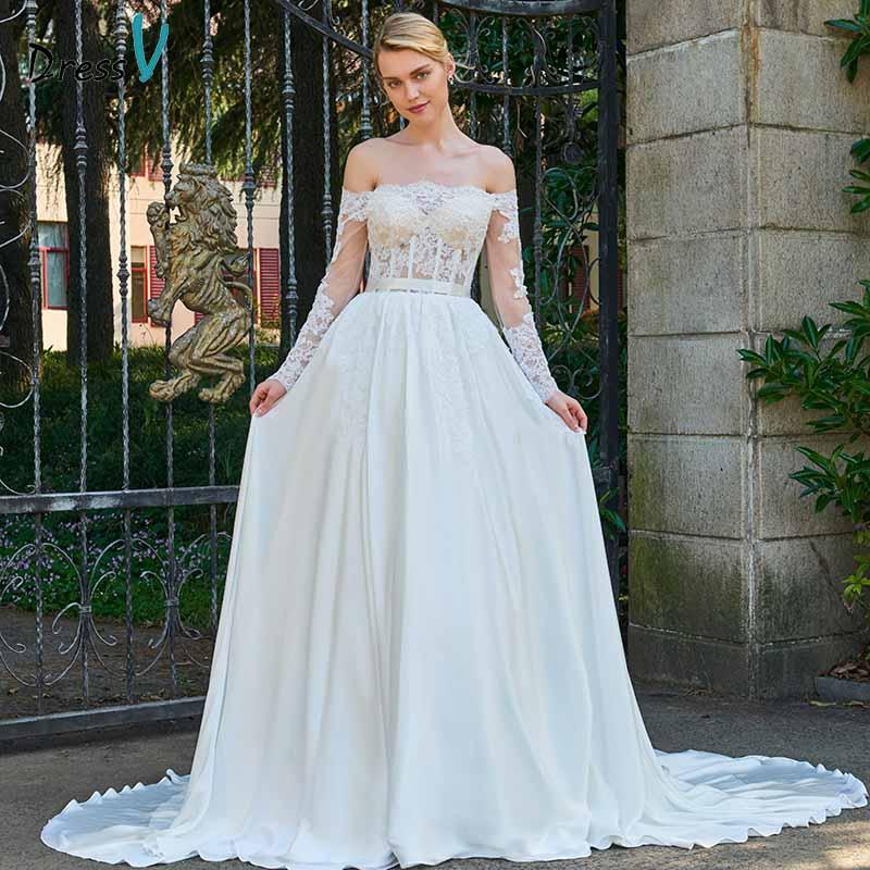 Dressv Ivory Off The Shoulder Lace Wedding Dress Long Sleeves Button Floor Length Bridal Outdoor&church Wedding Dresses
