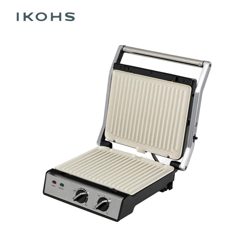IKOHS Grill PRO Sandwich Maker Grills Grilled 2000W Color Silver Metal Floating Cover Nonstick Adjustable image