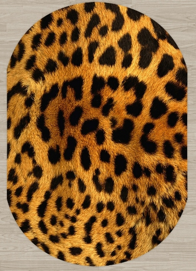 Else Yellow Brown Black Leopard Animal Fur Design 3d Print Non Slip Microfiber Living Room Modern Oval Washable Area Rug Carpet
