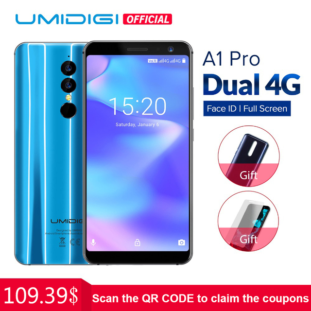 Umidigi A1 Pro Global Version Dual 4G LET Smartphone 18:9 Full Screen 3GB+16GB 3150mAh Android 8.1 Face ID MT6739 Cellphone