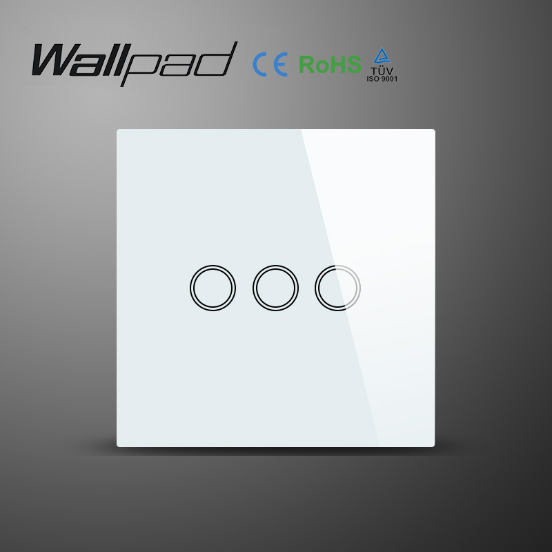 Wallpad White Luxury EU UK Standard 3 Gang 1 Way Touch On OFF Crystal Glass Wall Touch Switch LED Indicator Free Shipping smart home us au wall touch switch white crystal glass panel 1 gang 1 way power light wall touch switch used for led waterproof