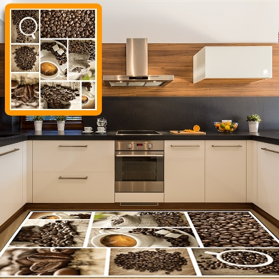 Else Patchwork Coffee Cup Beans Patchwork 3d Pattern Print Non Slip Microfiber Kitchen Modern Decorative Washable Area Rug Mat