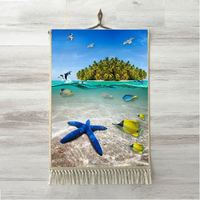 Else Tropical Green island Under Blue Sea Stars Fish 3D Print Decorative Gift Wall Art Rope Hanging Rug Carpet Tasseled Tapestry