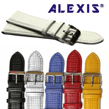 22mm Black White Blue Red Yellow Geunine Leather Watch Band Blue Checkered Checkered Embosse WB123322GB фото