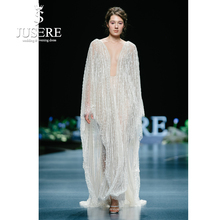 JUSERE 2019 SS FASHION SHOW Ivory Wedding Dress Beaded Long Sleeve Charming Illusion Bridal Gowns Vestido de noiva Mariage