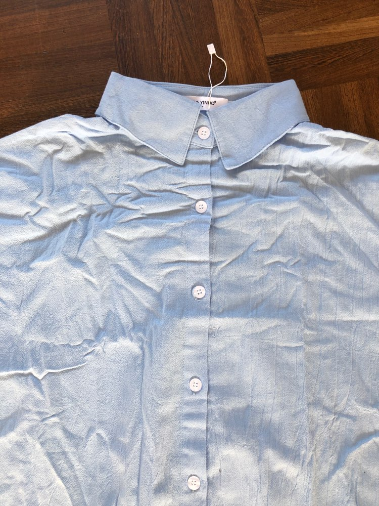 Cotton Women Blouse Shirt Summer New Linen Cottons Casual Plus Size Womans Long Section Shirts White/Blue photo review