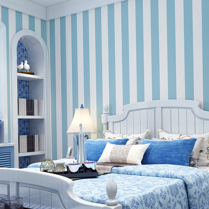 Modern Pink Blue White Stripe Wallpaper For Kids Room Baby Boy